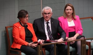Cathy McGowan, Andrew Wilkie and Rebekah Sharkie abstain from voting during a division in question time in the house of representatives, parliament house, Canberra this afternoon, Tuesday 15th August 2017. Photograph by Mike Bowers. Guardian Australia