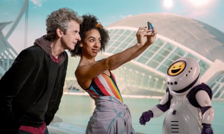 Merchandising opportunity alert! The Doctor, Bill and Emojibot.