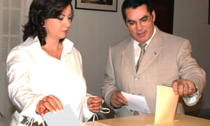Ben Ali and his wife Leila vote in Tunis in October 2004.