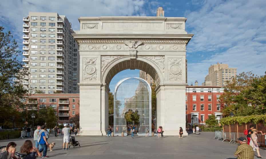 Ai Weiwei's Good Fences Make Good Neighbors art project in Washington Square Park.