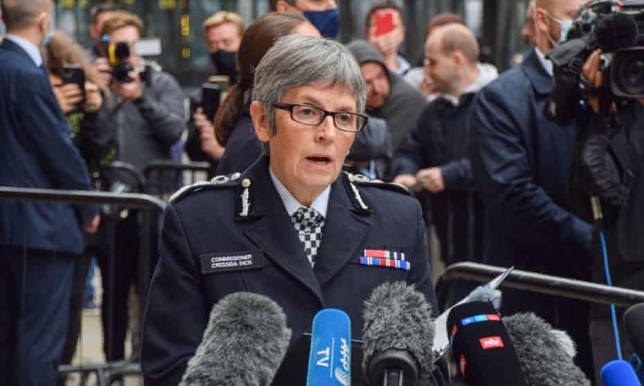 The Metropolitan police commissioner,Cressida Dick,  gives a statement outside the central criminal court on Thurday after the sentencing of Sarah Everard's murderer, Wayne Couzens