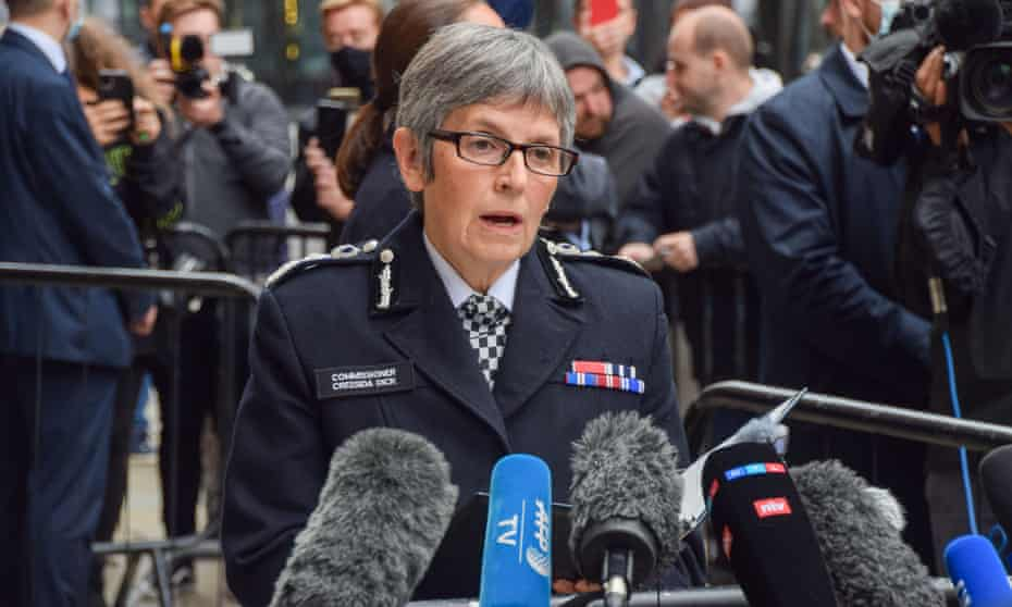Cressida Dick, the Metropolitan police commissioner, gives a statement outside court after the sentencing of Wayne Couzens for the murder of Sarah Everard.