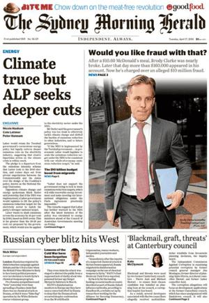 front-page SMH 17 April, 2018