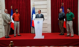With Chris Norman, receiving the Legion d'honneur from Francois Hollande.
