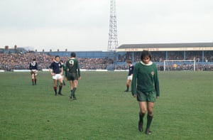 Best walks back to the dressing room after being sent off for throwing mud at the referee in Northern Ireland's 1-0 defeat to Scotland at Windsor Park in April 1970