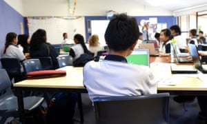 Students attend a class at Alexandria Park Community School in Sydney on May 4, 2016.