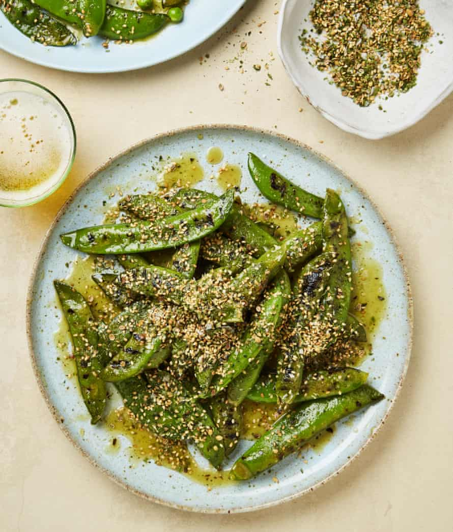 Yotam Ottolenghi's peas in the pod with wasabi dressing and furikake.