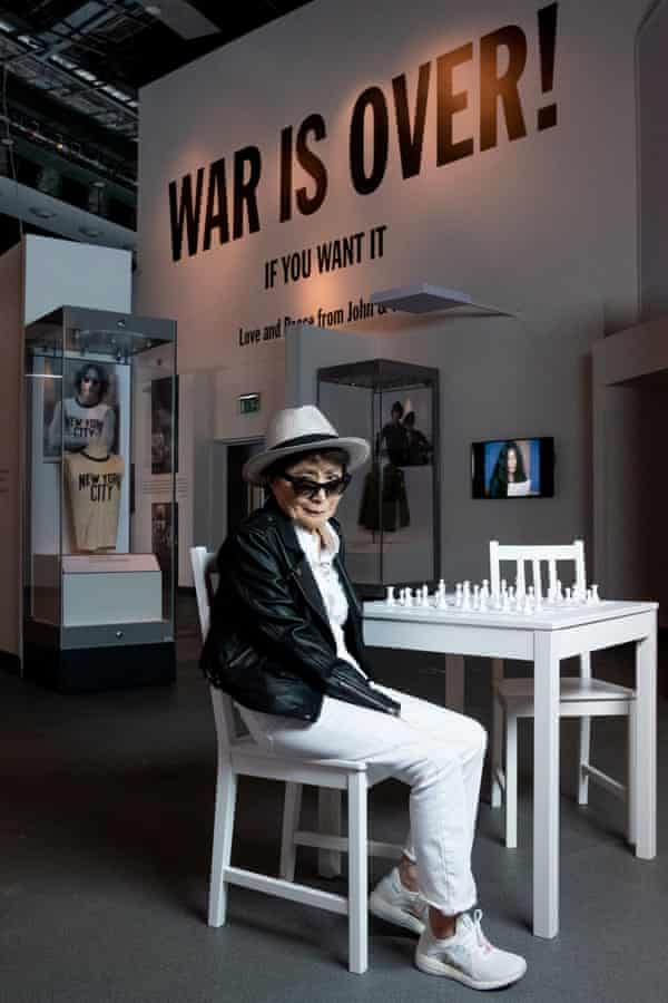 Yoko Ono at the Double Fantasy exhibition at the Museum of Liverpool.