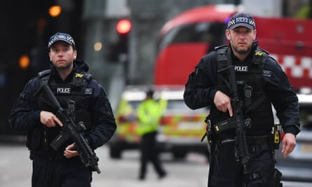 Armed police near the site of the attack at London Bridge