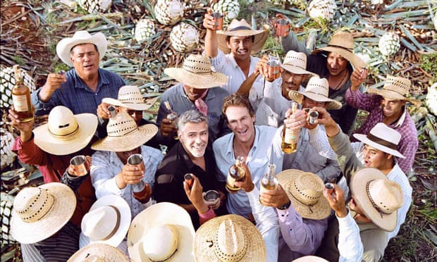 George Clooney and Rande Gerber with Casamigos tequila producers – they sold the brand for $1bn last year.