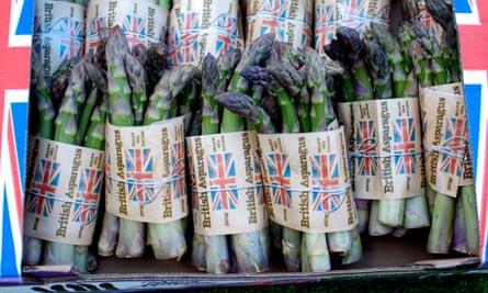 British asparagus on sale on a market stall, UK.