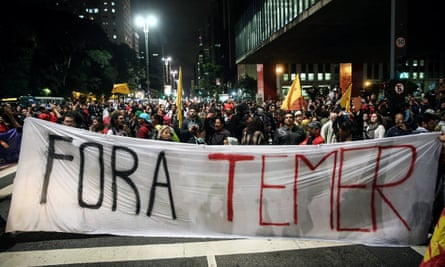Protesters against Brazilian president Temer gather in Sao Paulo.