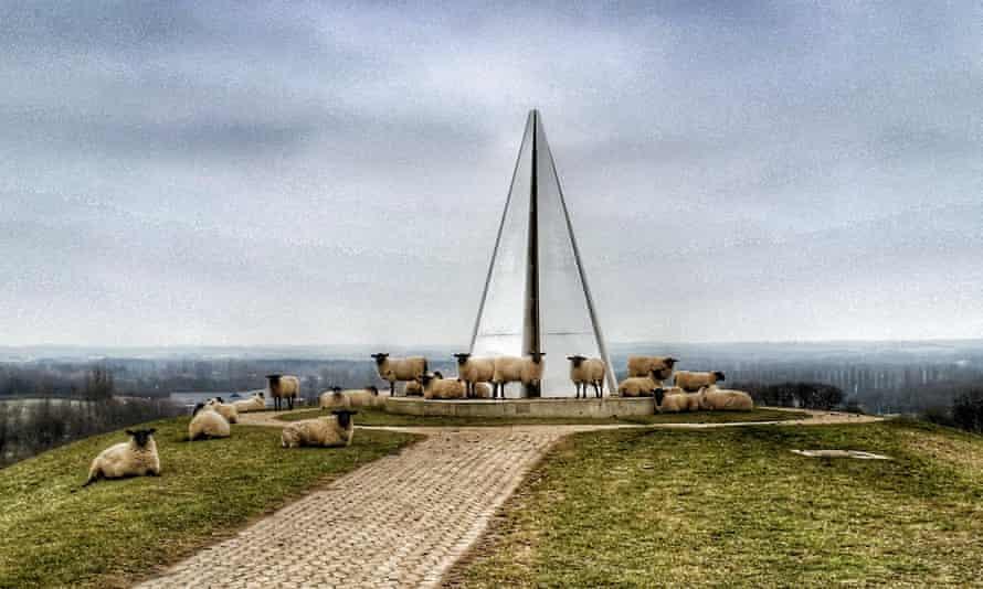 Keen on Milton Keynes: happy sheep surround the Light Pyramid erected by Liliane Lijn.