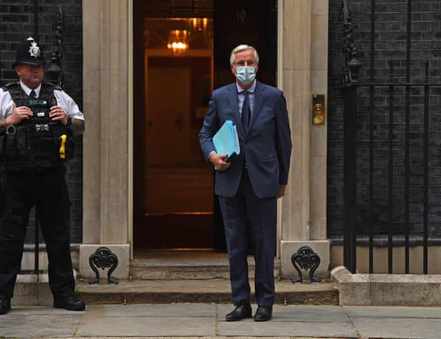 Barnier outside 10 Downing Street, 7 July