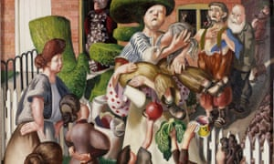 Stanley Spencer, The Dustman or The Lovers, 1934 (detail, full image below).