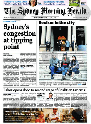 Front-page of the SMH, 22 May 2018.