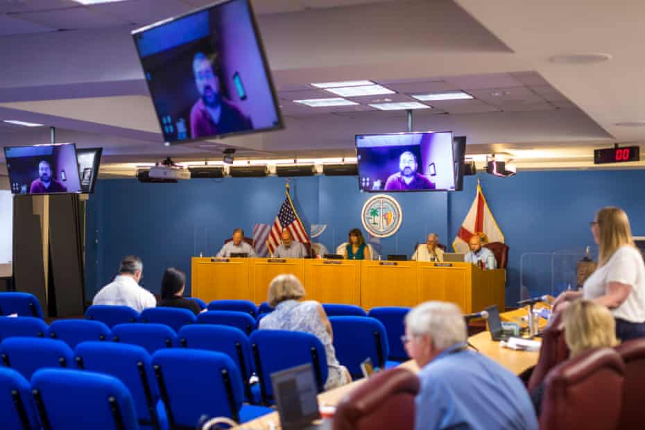 A town board meeting at the government building in Marathon, Florida on June 21, 2021.