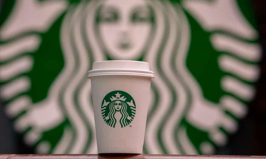 A Starbucks cup and logo