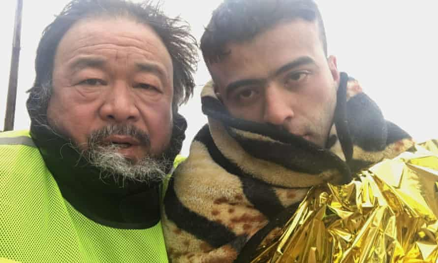Gesture of sympathy … Ai Weiwei, left, in his film Human Flow.