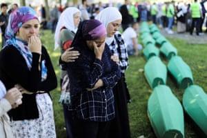Srebrenica, Bosnia and Herzegovina Relatives of those killed in the Srebrenica massacre