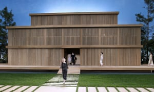 A minimalist wooden pavilion occupied the centre of the stage