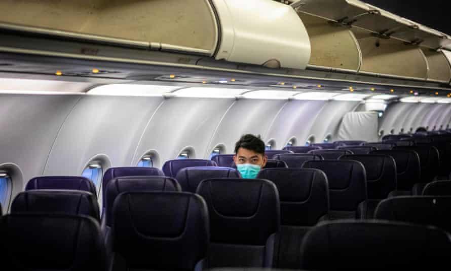 Almost empty airline cabin