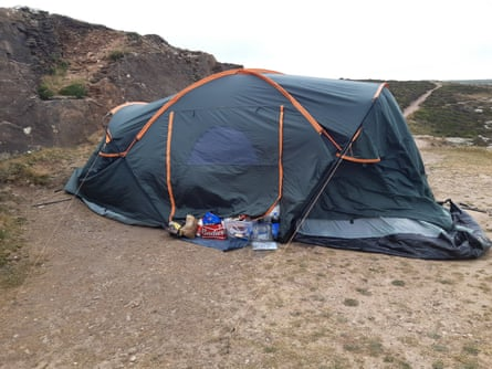 An example of illegal camping on the Cornish coast