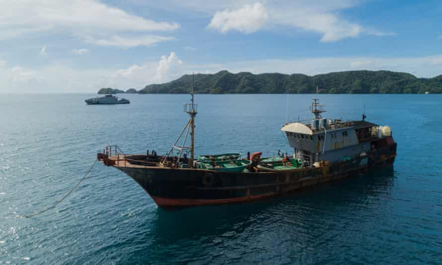 A Chinese fishing boat detained by Palauan authorities on suspicion of illegally harvesting sea cucumber.