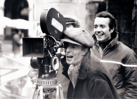 David Bowie with assistant director Rory MacLean filming Just a Gigolo in 1977.