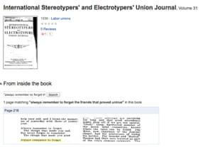 The quote appears in a 1936 volume of the International Stereotypers' and Electrotypers' Union Journal.