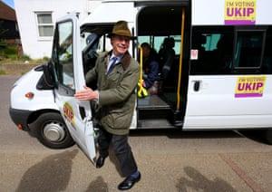 Ukip leader Nigel Farage arrives to canvas in Ash, Kent