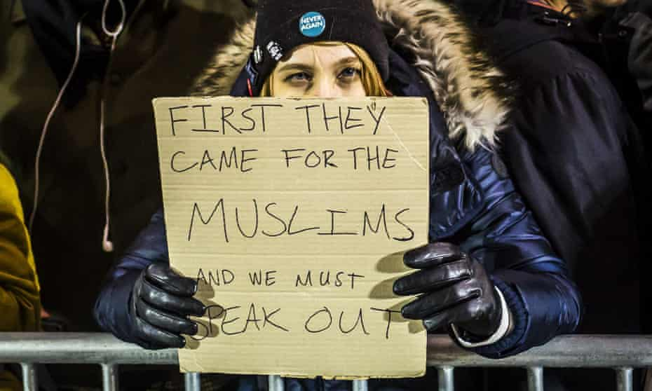 Protesting against Trump's immigration ban in New York.