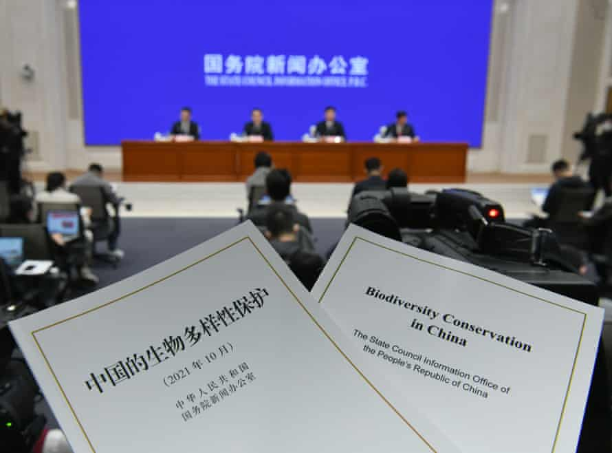 China's State Council Information Office issue a white paper to introduce the country's actions on biodiversity conservation, Beijing, China, 8 Oct 2021