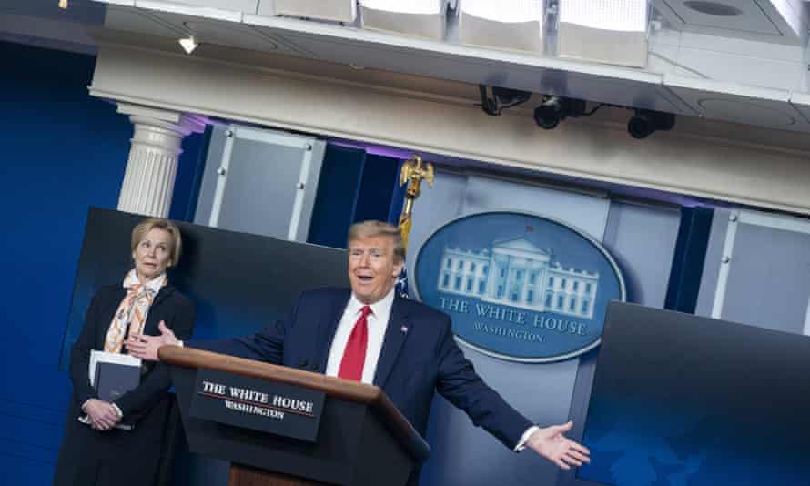 Donald Trump at Saturday's press briefing.