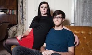Alex Jeffers and his girlfriend Carol Woodman in their house in Cardiff.