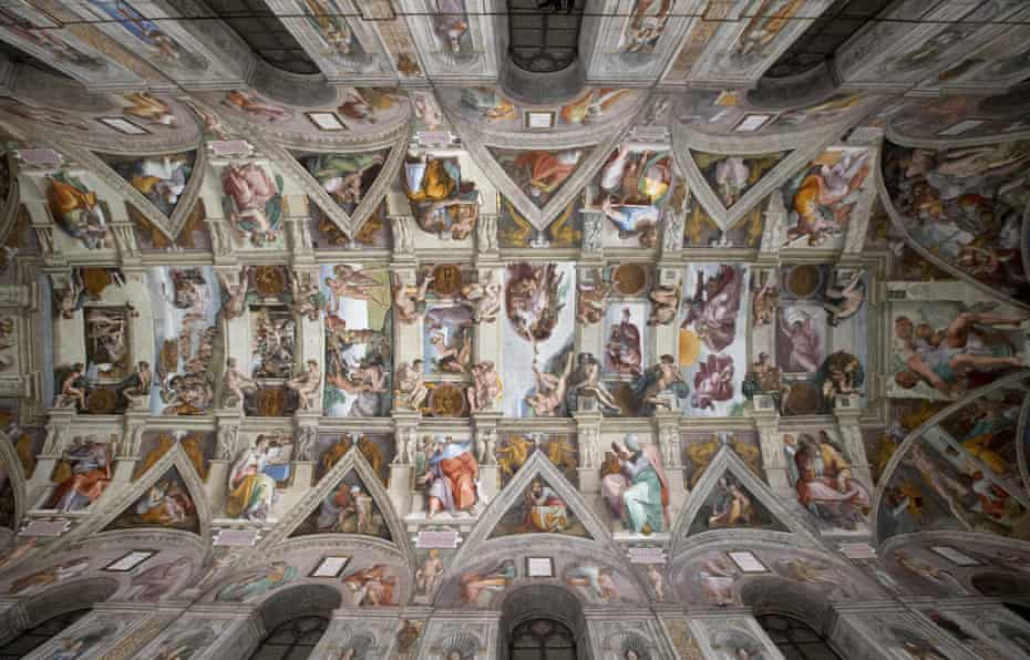A view of Michelangelo's fresco The Creation of Adam' on the Sistine Chapel's ceiling.
