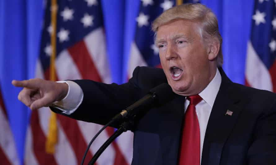 Donald Trump points his finger as he speaks at Trump Tower in January.