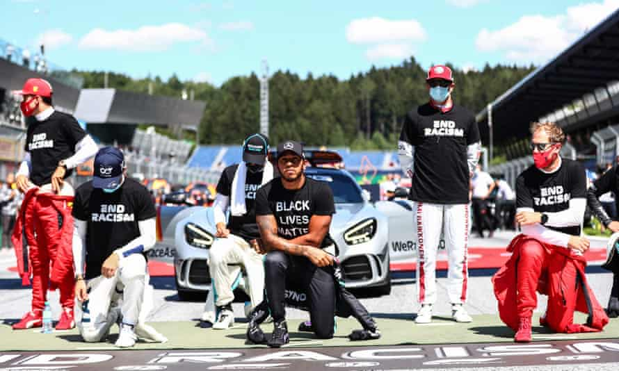 Lewis Hamilton is among those to take a knee before the race in solidarity with the Black Lives Matter movement