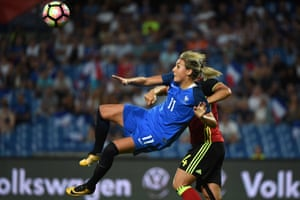 France's midfielder Claire Lavogez challenges for the ball during the match between France and Belgium on 7 July 2017 at the Stade de la Mosson.