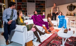 Smoke and mirrors … from left, Simon Bird, Lowenna Melrose, Matt Berry, Lily Cole, Tom Rosenthal and Charlotte Ritchie in The Philanthropist.