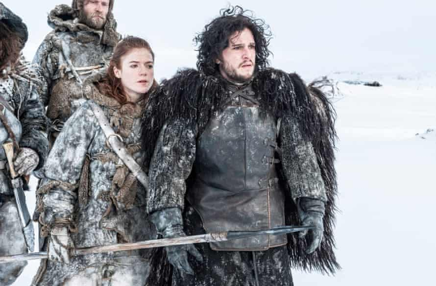 Rose Leslie and Kit Harington in season three of Game of Thrones.