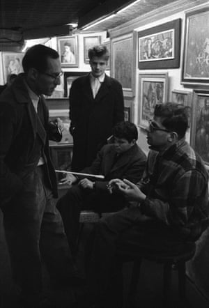 Allen Ginsberg and Barney Rosset, New York City 1957 Ginsberg and Grove Press publisher Rosset are pictured here in an art gallery with fellow writers Gregory Corso and Peter Orlovsky in the background