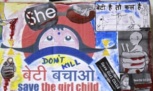 Placard protesting against female foeticide