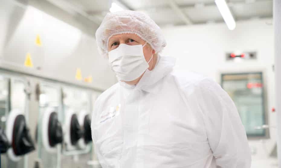 Boris Johnson visits the AstraZeneca plant in Macclesfield