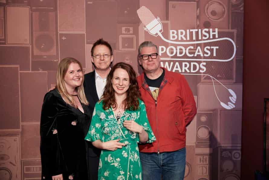 Cariad Lloyd, centre, with Griefcast producer Kate Holland, left, and Listeners' Choice winners Simon Mayo and Mark Kermode at the British podcast awards, May 2018.