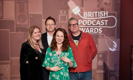 Simon Mayo and Mark Kermode with Griefcast's presenter Cariad Lloyd, centre, and editor Kate Holland at the British Podcast awards.
