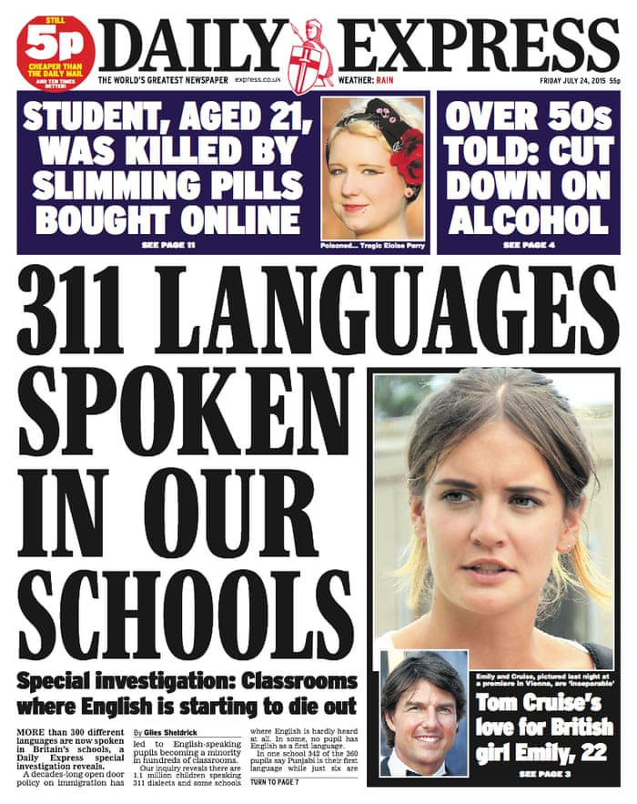 Express makes front-page correction for claiming English is