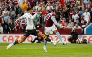 Leon Bailey rifles home the third goal for Villa.