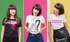 Leah Harper wearing different T-shirts with slogans