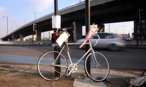 A 'ghost bike' memorial to a dead cyclist on the roundabout at the Bow flyover in Bromley-By-Bow.